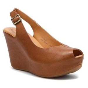 Kork Ease Sarah Peep Toe Platform Leather Wedge